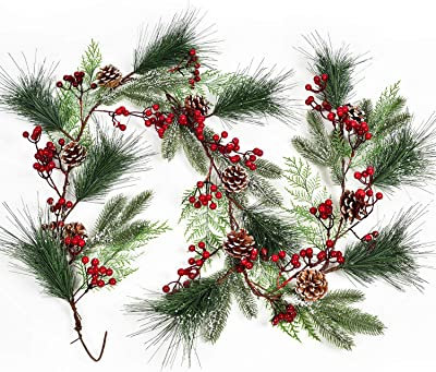 Ashland Christmas 6 Foot Garland NWT Spruce Berry//Pinecones Set Of 2,12 Ft Total