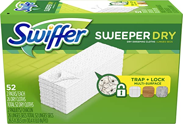 Swiffer Sweeper Dry Mop Refills For Floor Mopping And Cleaning All Purpose Floor Cleaning Product Unscented 52 Count