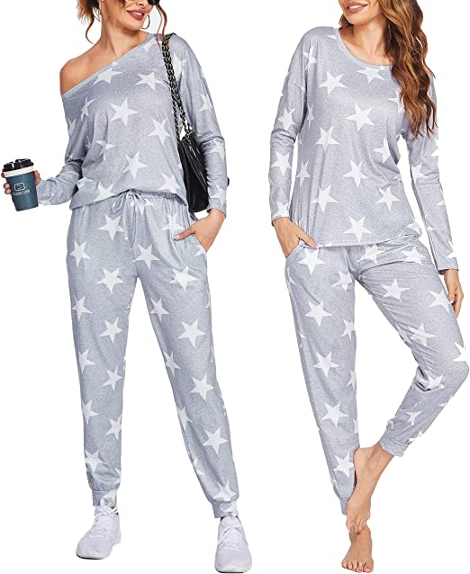 Ekouaer Pajamas for Women Long Sleeve Sleepwear Loose Two Piece Jogger Sets Soft Star Pjs Causal Sweatsuits with Pockets