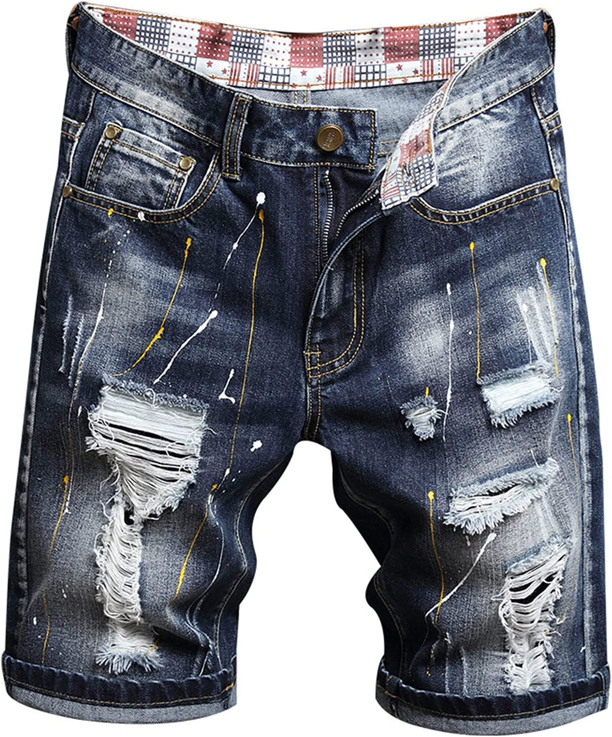 Men's Fashion Ripped Jean Shorts Casual Comfy Distressed Slim Fit Denims Short Street Style Knee Length Half Jeans (Navy Blue,34)