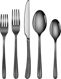 Artaste 57003 Rain II Forged 18/10 Stainless Steel Flatware 20-Piece Set, Black Finished, Service for 4