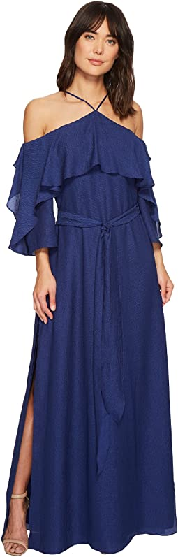 Halston Heritage - Short Sleeve Cold Shoulder Gown w/ Flounce