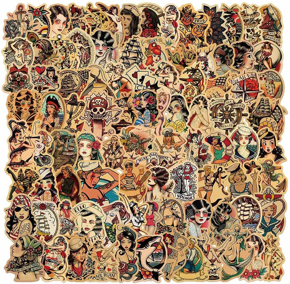 Vintage Stickers, 100pcs Sailor Jerry Sticker Pack for Adults, Vinyl Waterproof Retro Pinup Girl Deals for Laptop Water Bottle Hydro Flask Car Motorcycle Guitar Phone Luggage Men Decoration Sexy