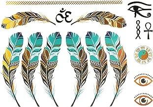 COKOHAPPY Metallic Temporary Tattoo , Feather Tai-Chi-Yin-Yang Ankh Cross Eye of Horus