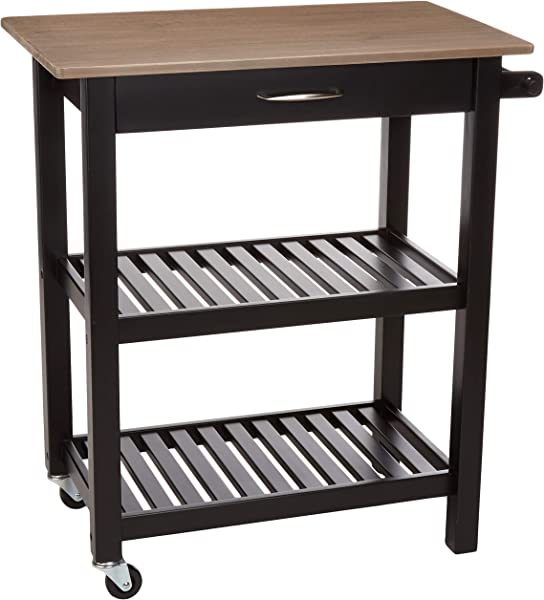 AmazonBasics Multifunction Rolling Kitchen Cart Island With Open Shelves Reclaimed Grey And Black