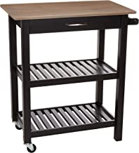 AmazonBasics Multifunction Rolling Kitchen Cart Island with Open Shelves - Reclaimed Grey and Black