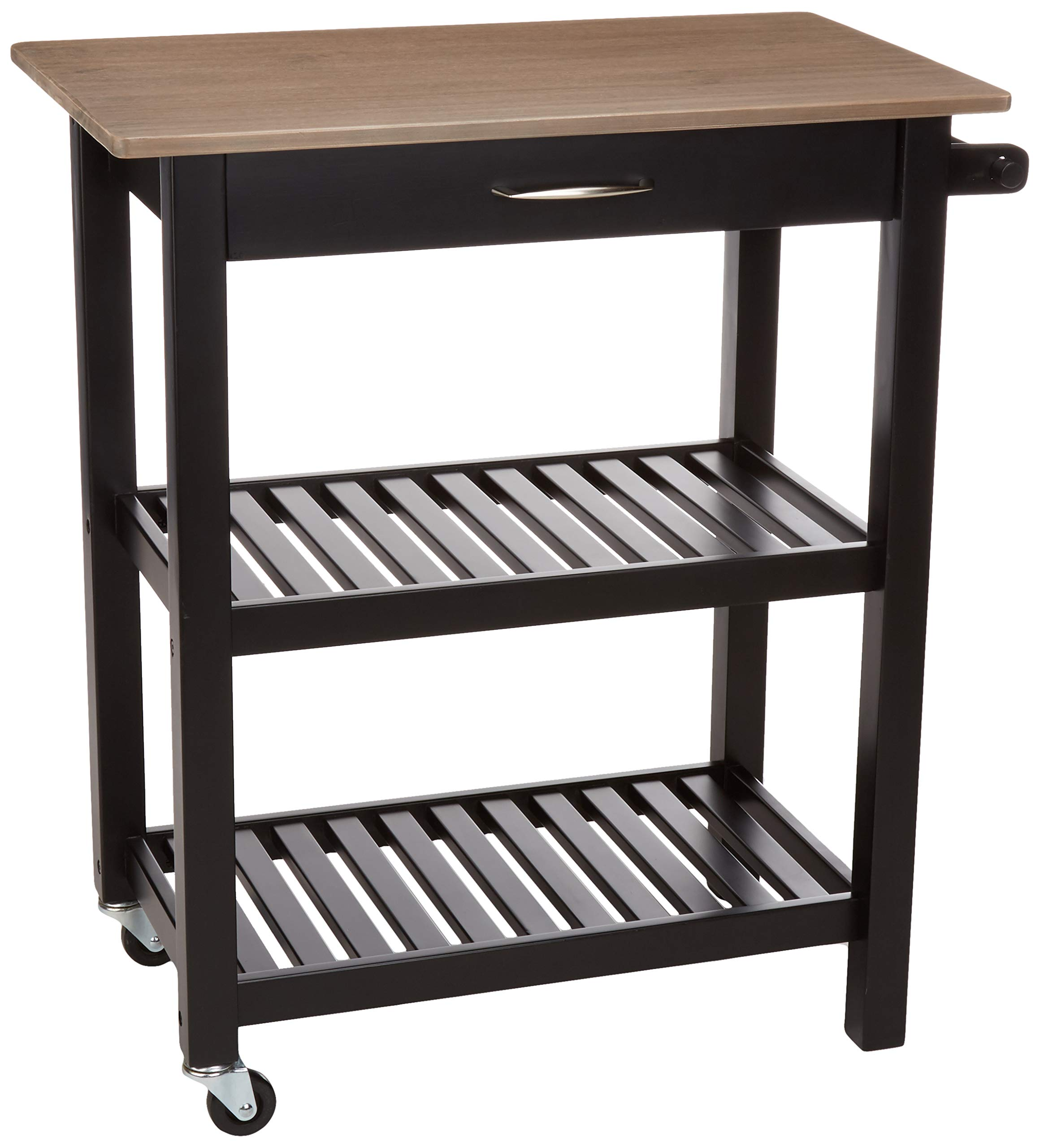 Amazon Com Amazon Basics Multifunction Rolling Kitchen Cart Island With Open Shelves Reclaimed Grey And Black Furniture Decor
