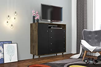 Moveis Bechara Lyon Sideboard Dresser, Wood/Black, 42.3 inches x 17.7 inches x 43.1 inches, 2074982