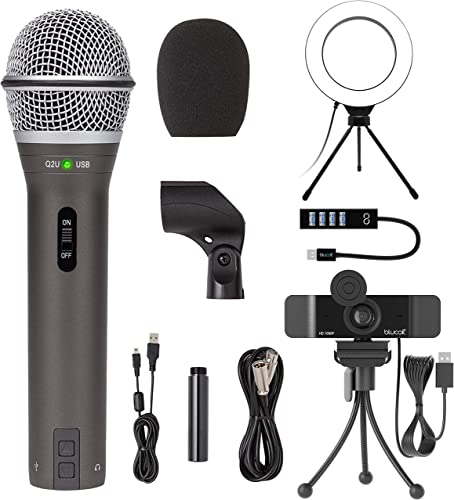 """high quality Samson Q2U USB/XLR Dynamic 2021 Microphone for Windows, Mac, iOS Devices, Mixers, high quality and PA Systems Bundle with Blucoil 1080p USB Webcam, 6"""" Dimmable Selfie Ring Light, and USB-A Mini Hub online sale"""