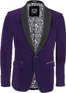 Men's Soft Velvet Dinner Jacket Retro Tailored Fit Party Tuxedo Blazer Black Satin Shawl Lapels