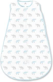 Amazing Baby Cotton Sleeping Sack with 2-Way Zipper, Tiny Elephants, Pastel Blue, Medium