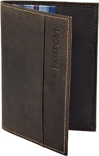 Menzo Reisepasshülle aus echten Leder Reisepassetui Passport Reisepasshülle Reisebrieftasche marrone