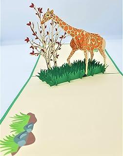 BC Worldwide Ltd carta pop-up 3D fatta a mano Giraffa Albero di albicocche erba compleanno anniversario di matrimonio San ...