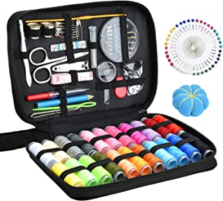 Sewing KIT, DIY Sewing Supplies with Sewing Accessories, Portable Mini Sewing Kit for Beginner, Traveller and Emergency Clothing Fixes, with Premium Black Carrying Case (B)