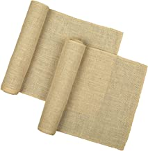 RAJRANG BRINGING RAJASTHAN TO YOU Jute Burlap Table Runner - (Pack of 2) 12x108 Natural Brown Farmhouse Kitchen Decor Country Rustic Coffee Table Runner