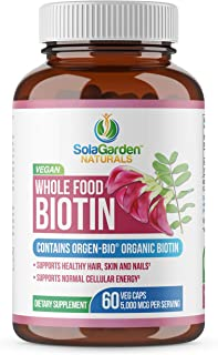 Whole Food Biotin Supplement - Contains Certified Organic Plant Based Biotin from Sesbania Agati Trees - by LifeGarden Nat...
