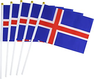 50 Pack Hand Held Small Mini Flag Iceland Flag Icelanders Flag Stick Flag Round Top National Country Flags,Party Decorations Supplies For Parades,World Cup,Sports Events,International Festival