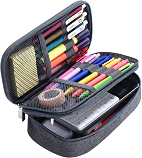 Yerdol Trousse Étui à crayons de grande capacité, sac en toile à 3 grilles, étui à crayons multifonctionnel, sac de papete...