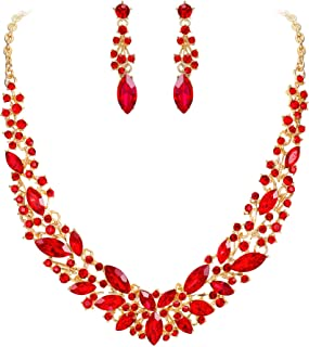Women's Wedding Bridal Austrian Crystal Marquise Cluster Collar Necklace Dangle Earrings Set