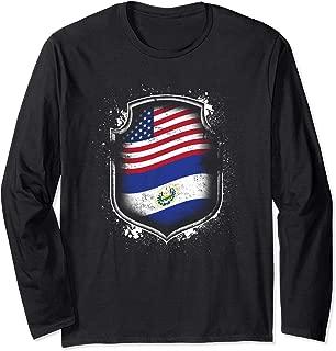 Salvadorian American Flags Of El Salvador and USA Long Sleeve T-Shirt