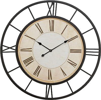 "Deco 79 92266 Metal Wall Clock 37""D, Black, White"