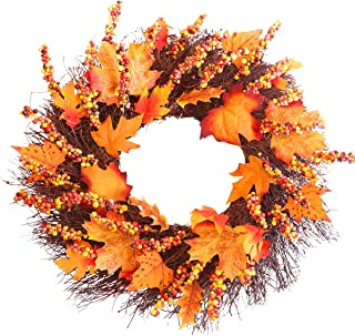 Fall Wreath, 18 inch Front Door Wreath, Christmas Wreath with Maple Leaf and Berry, Halloween Easter Wreath for Front Door, Ideal for Autumn & Halloween & Thanksgiving Day, Indoor Outdoor (yellow)