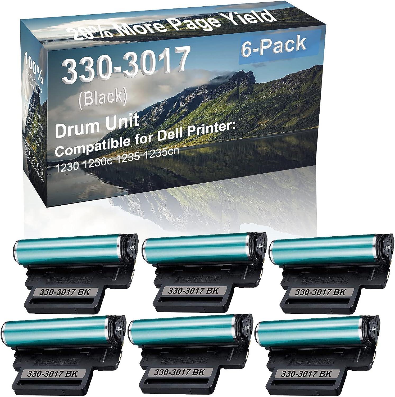 6-Pack Compatible 330-3017 Drum Kit use for Dell 1230 1230c 1235 1235cn Printer (Black)