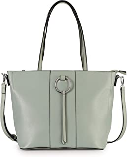 Mabel Womens Shoulder Handbag - Multiple Pockets Top Handle Tote Bag - PU Leather - Long Adjustable Strap - AMARA (Pastel Green)