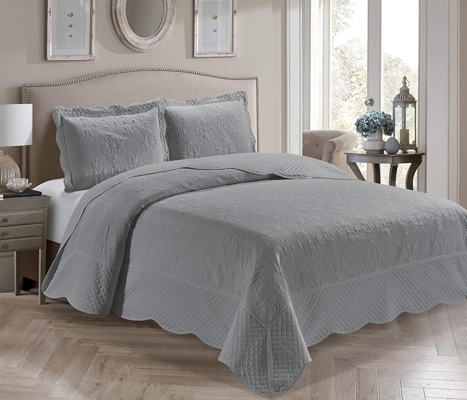 Home Collection 3 Piece King/California King Over Size Embossed Solid Grey Color Coverlet Bedspread New # Veronica