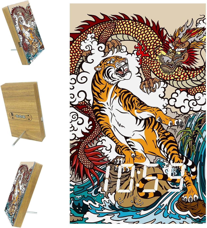 Inhomer Chinese Dragon Detroit Mall Tiger Digital Date Alarm Clocks Time Cale mart