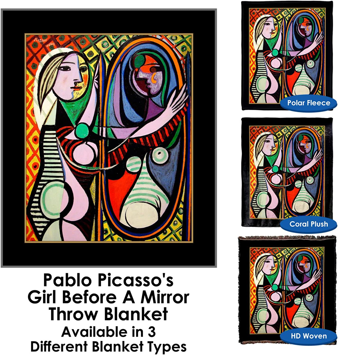 Pablo Picasso's Girl Before A Mirror  Throw Blanket Tapestry Wall Hanging (Polar Fleece, 50 x60 )