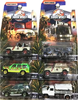 MATCHBOX JURASSIC WORLD DIE-CAST SET OF 6 LEGACY COLLECTION, JEEP WRANGLER, FORD, MERCEDES