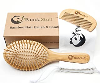 Natural Wooden Paddle Hair Brush � Organic Bamboo Bristles Pins Hairbrush And Comb Travel Set For Women, Men And Kids - For Thin, Thick, Long, Short, Curly Hairs - Scalp Massager, Eco-Friendly, Biodegradable, BPA Free � By Panda Stuff