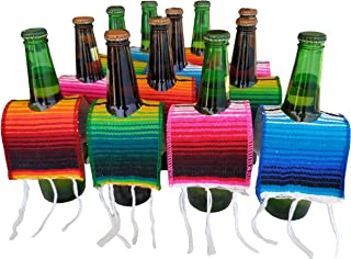 Yani's Gifts 12 Beer Poncho Mini Serapes for Cinco De Mayo, Day of The Dead or Any Mexican Party or Fiesta, 3 Orange, 3 Blue, 3 Green, 3 Red Ponchos for Beer 12 Pack, Tequila or Margarita Mix Bottles
