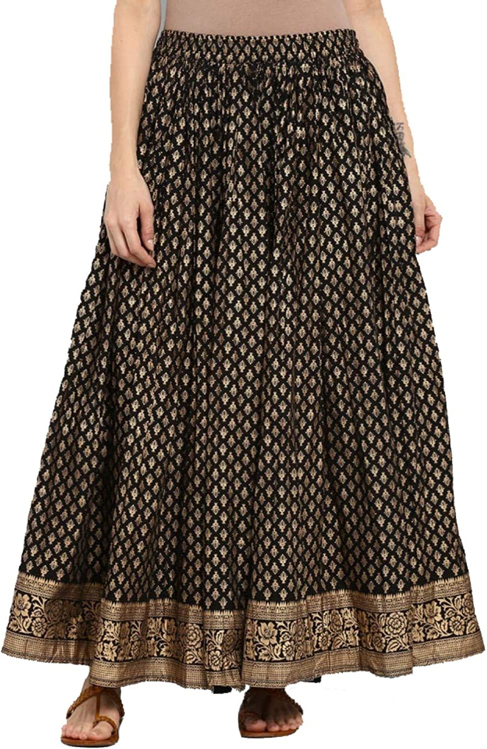 Skirt for Women Wide Leg Elastic Waist Loose Comfy Black and Golden Printed Maxi Flared Yoga