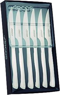 Arcos Couteaux de Table - Set de Couteaux à Steak 6 pièces (6 Couteaux) - Monobloc d'une Pièce Acier Inoxydable Couleur Ar...