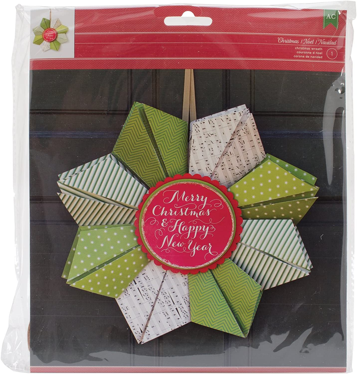 Christmas Cardstock Wreath Kit-Merry Christmas & Happy New Year B00OJFPR5U  | Eleganter Stil