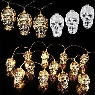 Halloween String Light, 9.8 Feet 20 LED Silver Plating Skull Lights Battery Powered Fun Skulls String Lights, Skull Skelet...