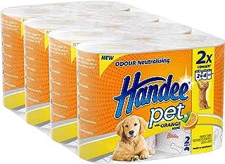 Handee Pet Orange Scent Odour Neutralising 2 Ply Double Length Pet Towel (8 Rolls of 120 sheets), 8 count