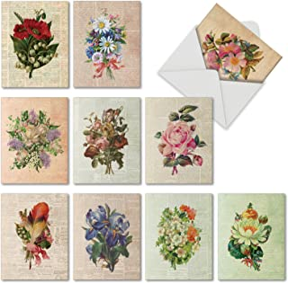 10 Vintage 'Flower Press' Thank You Cards with Envelopes 4 x 5.12 inch, Vintage Bouquets Pressed in Newsprint, Boxed Note Cards for Expressing Gratitude, Bulk Set of Greeting Cards M6454TYG