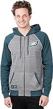 Ultra Game NFL Men's Full Zip Soft Fleece Raglan Hoodie
