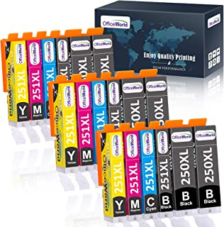 OfficeWorld Compatible 250 251 Ink Cartridge Replacement for Canon 250XL 251XL PGI-250XL CLI-251XL (18 Packs) for use with...