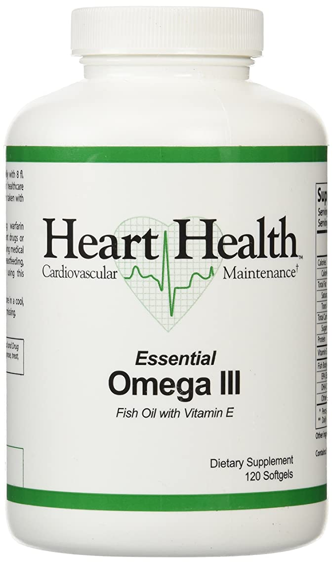 Heart Health? Essential Omega III Fish Oil with Vitamin E Single Bottle - 120 softgels,(60 Servings)