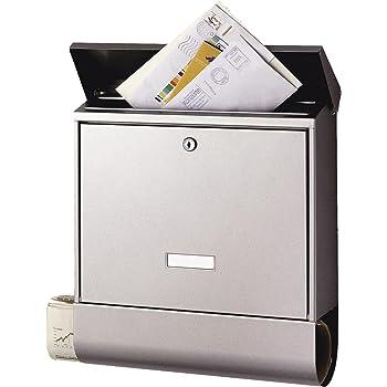 BURG-WÄCHTER Briefkasten mit Zeitungsbox und Namensschild, A4 Einwurf-Format, EU Norm EN 13724, Inkl. 2 Schlüsseln, Rostfreier, AMZ 2500 (Edelstahl)