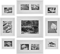 Gallery Perfect White Photo Gallery Wall Decorative Art Prints & Hanging Template 9 Piece Frame KIT, Set