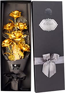 24k Gold Roses Bouquet, Gold Plated Rose 24k Gold Dipped Rose, Forever Gifts for Her Valentine's Day Anniversary Wedding Mothers Day Birthday Gift and Proposal–Gold by W