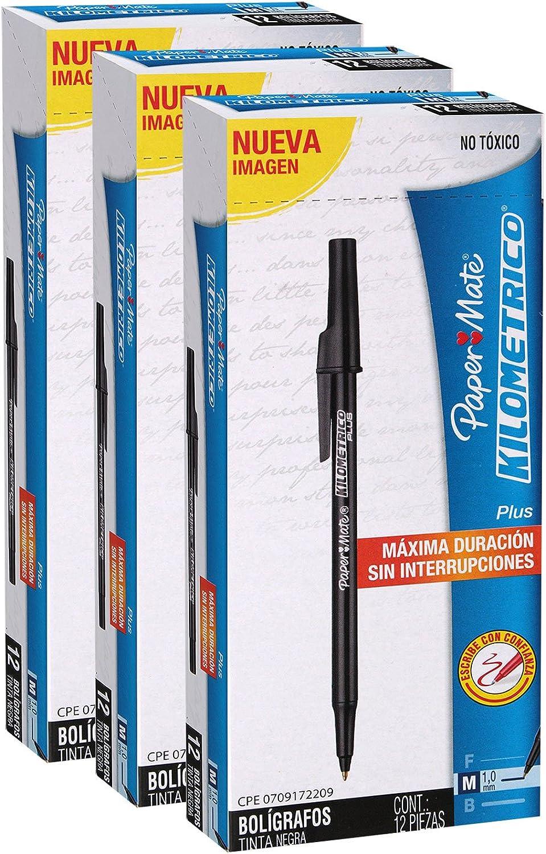 Paper Mate kilometrico Plus Stick Ball Ball Ball Point Stifte, 1,0 mm, Medium Point, schwarze Tinte, 36 Stück B07C95LWDD | Angemessener Preis  24798a