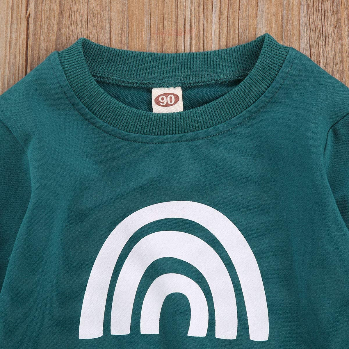 Kids Toddler Baby Boy Girl Fall Winter Outfits Rainbow Pullover Sweatshirt Long Sleeve T-Shirt Cotton Sweater Tops