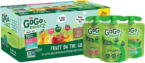 GoGo squeeZ Applesauce, Variety Pack (Apple/Peach/GIMME 5), 3.2 Ounce (20 Pouches), Gluten Free, Vegan Friendly, Unsweeten...