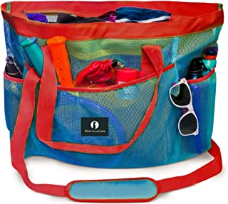 Red Suricata Large Mesh Beach Bag – Mesh Beach Tote Bag with Pockets - Beach Bags and Totes for Women with YKK Zipper & 7 Large Elastic Pockets for Beach Accessories & Beach Toys (Blue/Red)